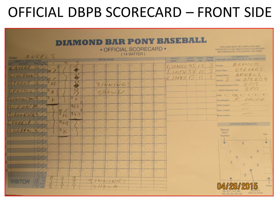 OFFICIAL DBPB SCORECARD – FRONT SIDE