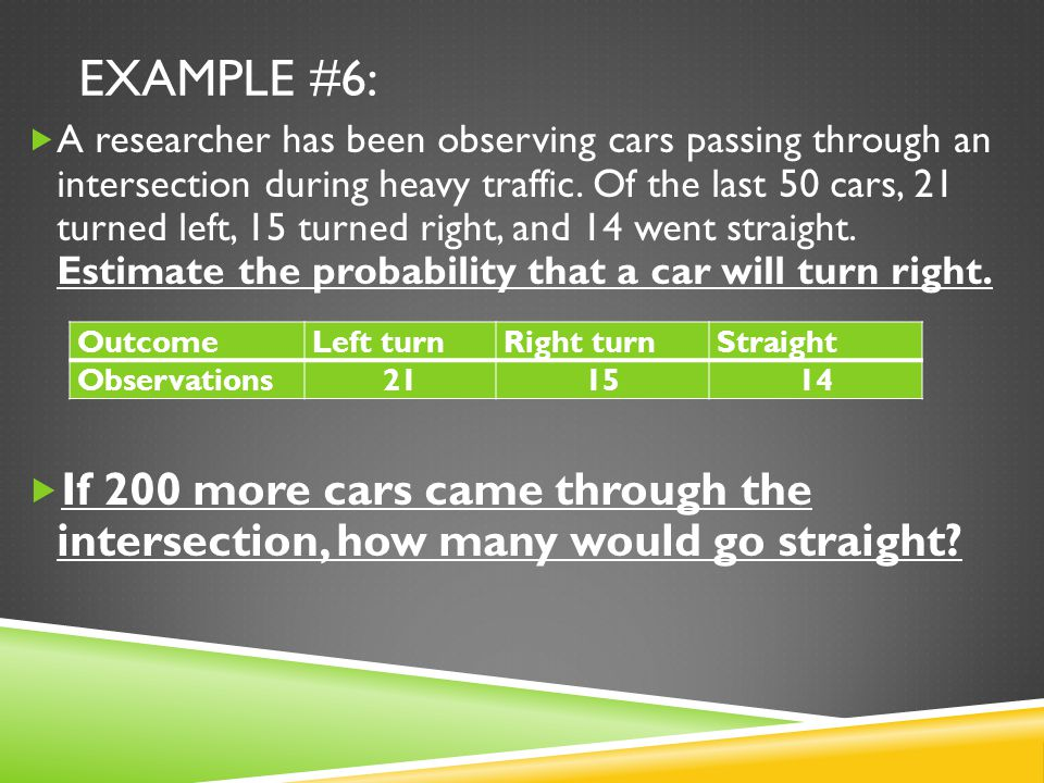 EXAMPLE #6:  A researcher has been observing cars passing through an intersection during heavy traffic.