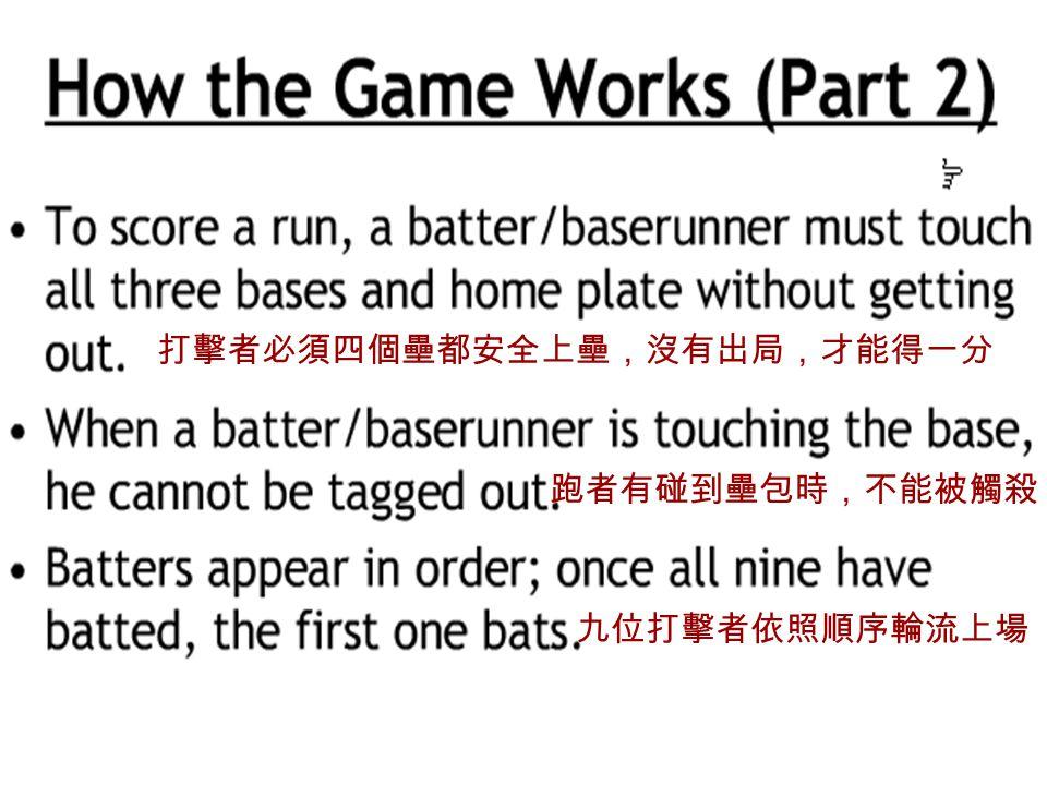 打擊者必須四個壘都安全上壘,沒有出局,才能得一分 跑者有碰到壘包時,不能被觸殺 九位打擊者依照順序輪流上場