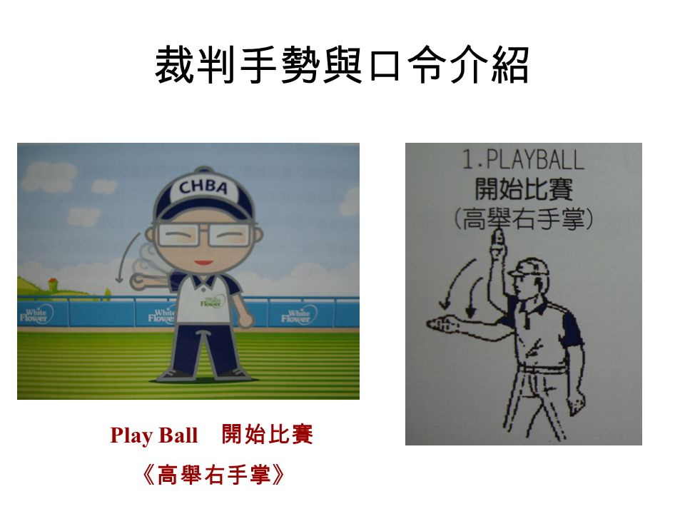 裁判手勢與口令介紹 Play Ball 開始比賽 《高舉右手掌》