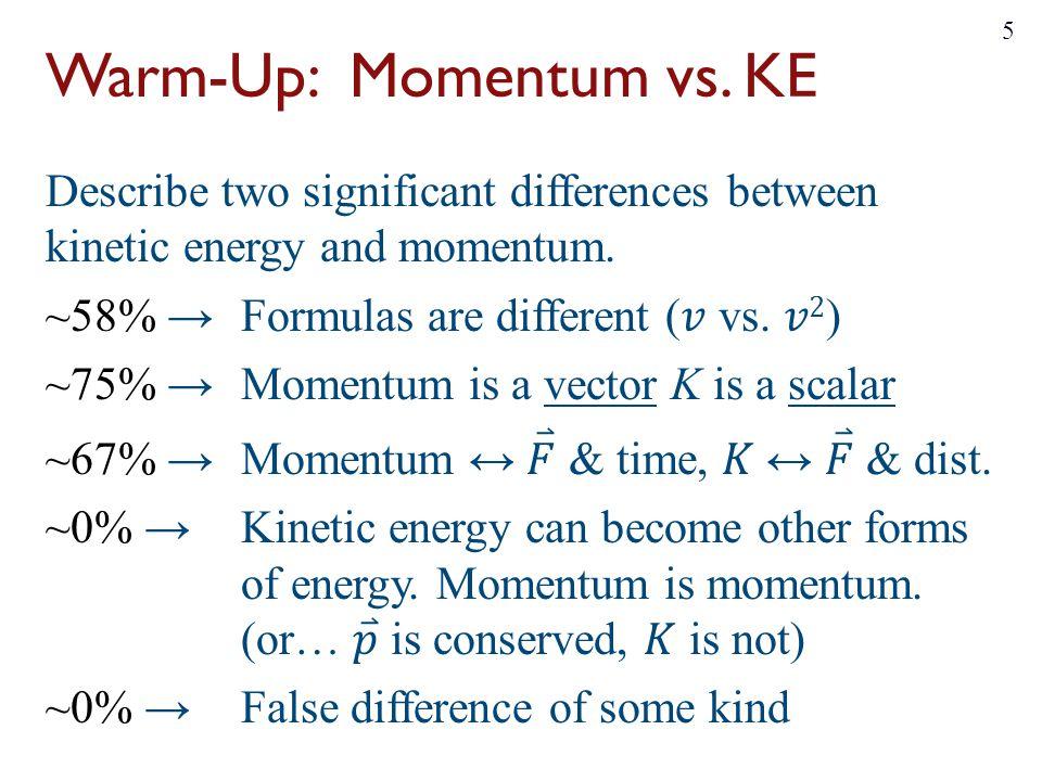 Warm-Up: Momentum vs. KE 5