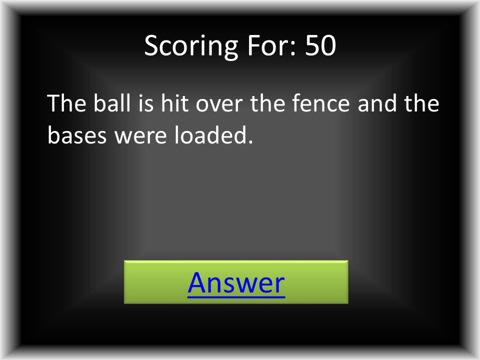 Scoring For: 50 The ball is hit over the fence and the bases were loaded. Answer