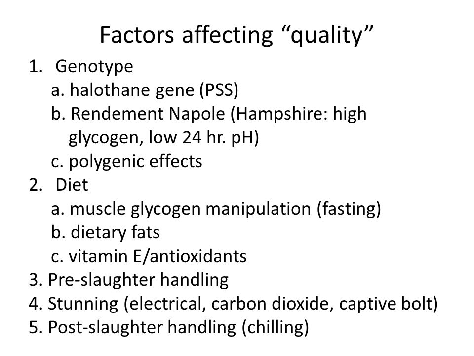 "Factors affecting ""quality"" 1.Genotype a. halothane gene (PSS) b. Rendement Napole (Hampshire: high glycogen, low 24 hr. pH) c. polygenic effects 2.Di"