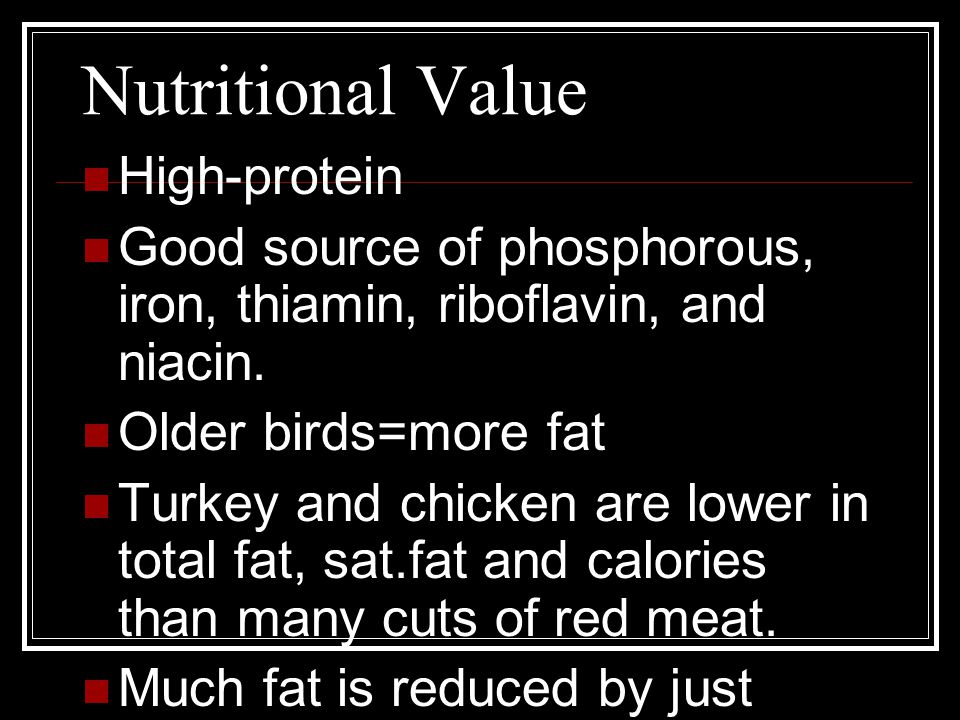 Nutritional Value High-protein Good source of phosphorous, iron, thiamin, riboflavin, and niacin.