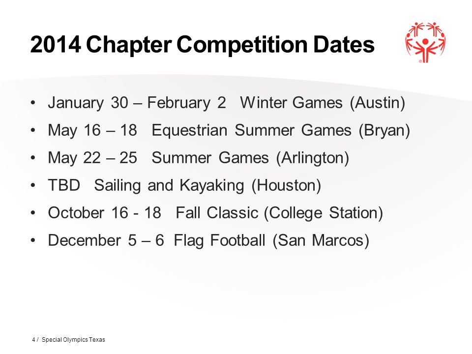 2014 Chapter Competition Dates January 30 – February 2 Winter Games (Austin) May 16 – 18 Equestrian Summer Games (Bryan) May 22 – 25 Summer Games (Arl