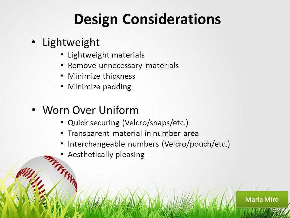 Your Logo Design Considerations Lightweight Lightweight materials Remove unnecessary materials Minimize thickness Minimize padding Worn Over Uniform Q