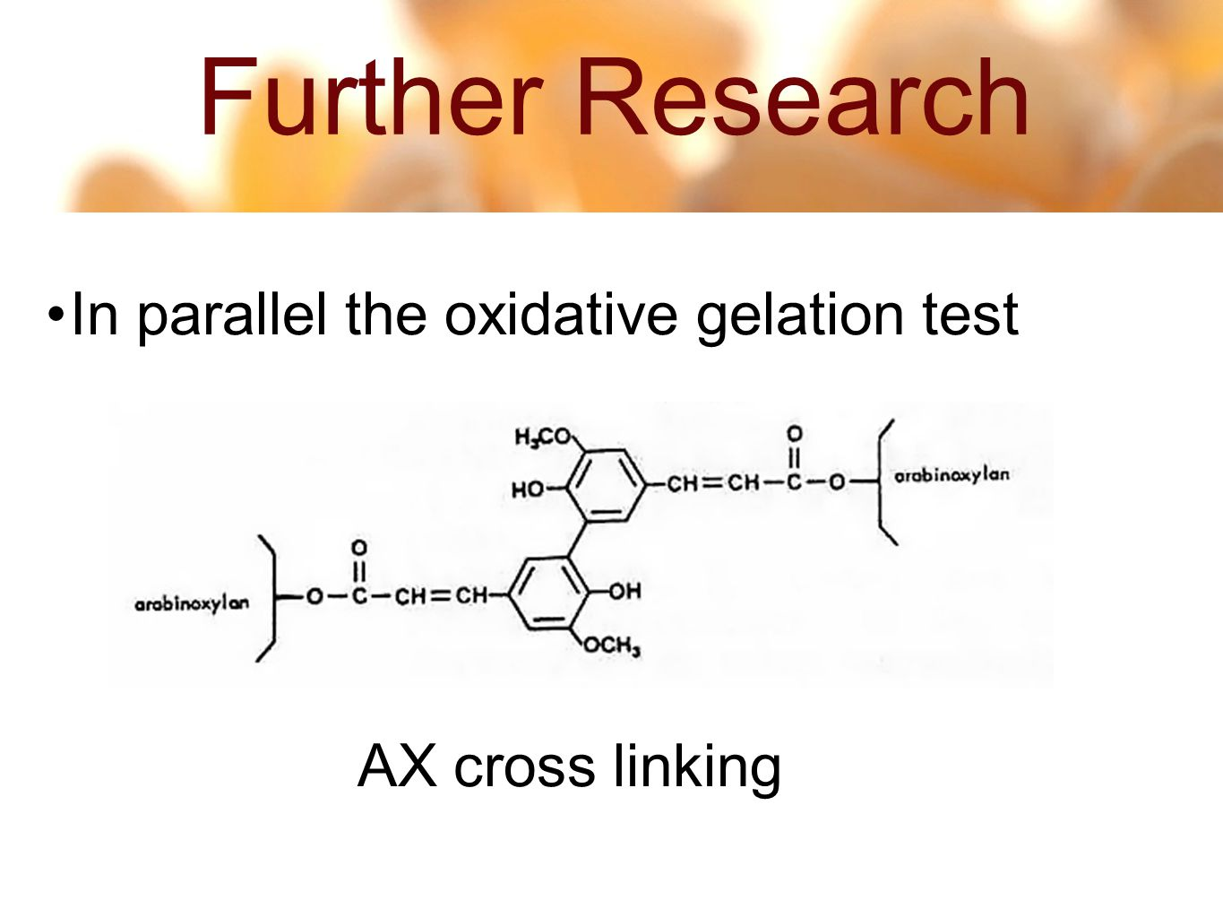 Further Research 14 54 In parallel the oxidative gelation test AX cross linking