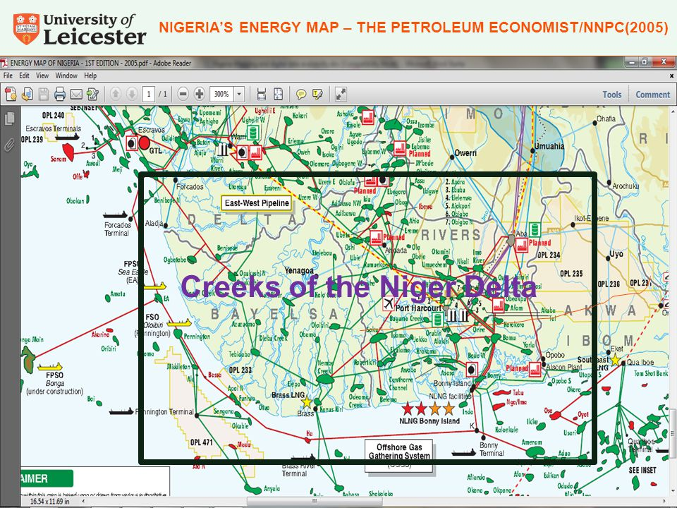 NIGERIA'S ENERGY MAP – THE PETROLEUM ECONOMIST/NNPC(2005) Creeks of the Niger Delta
