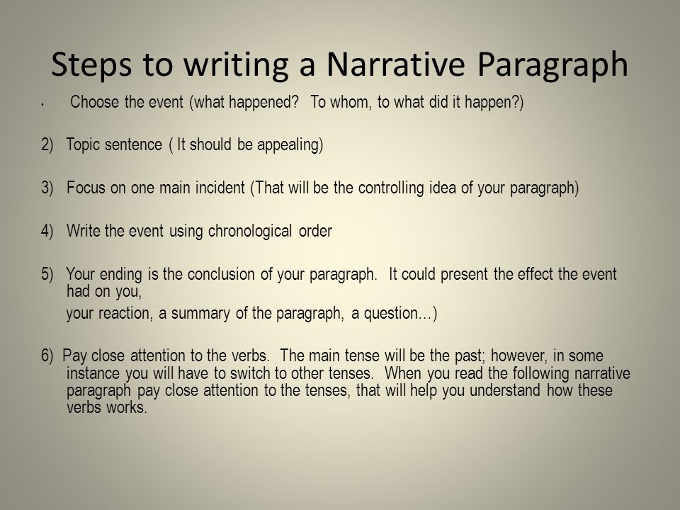 Steps to writing a Narrative Paragraph Choose the event (what happened.