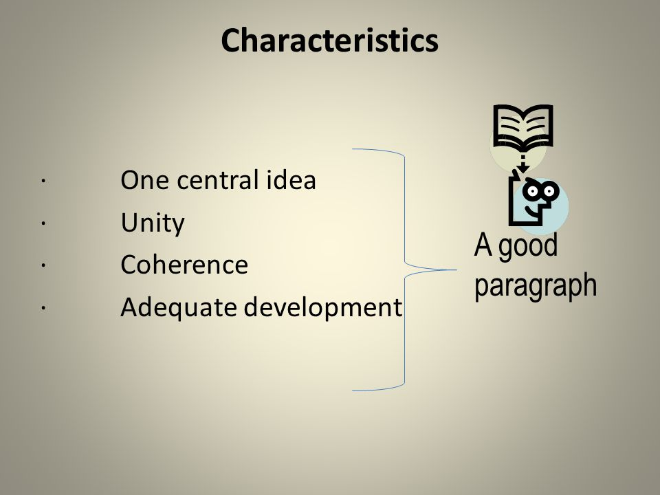 Characteristics · One central idea · Unity · Coherence · Adequate development A good paragraph