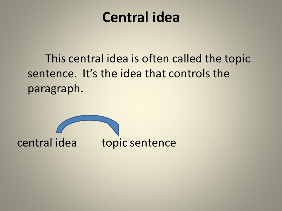 Central idea This central idea is often called the topic sentence.