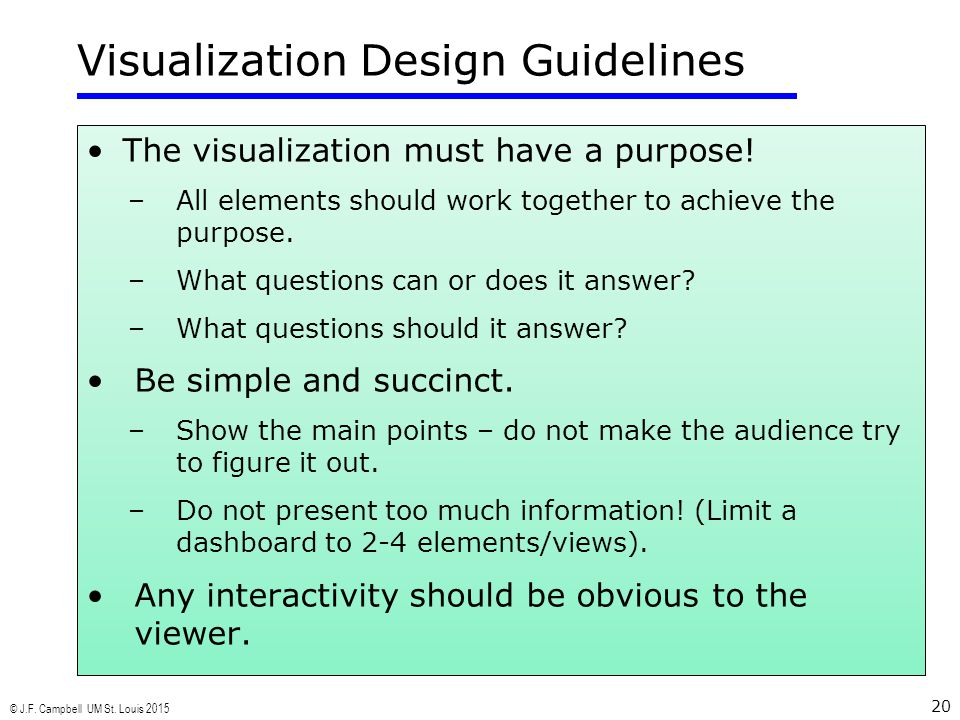 © J.F. Campbell UM St. Louis 2015 20 Visualization Design Guidelines The visualization must have a purpose! –All elements should work together to achi