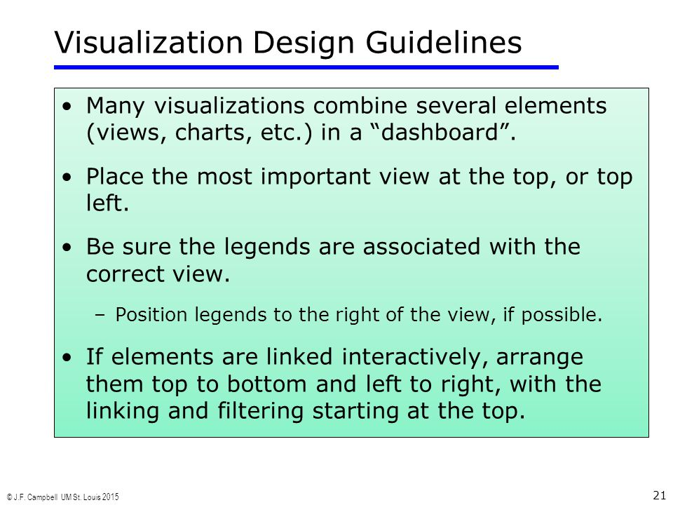 "© J.F. Campbell UM St. Louis 2015 21 Visualization Design Guidelines Many visualizations combine several elements (views, charts, etc.) in a ""dashboar"