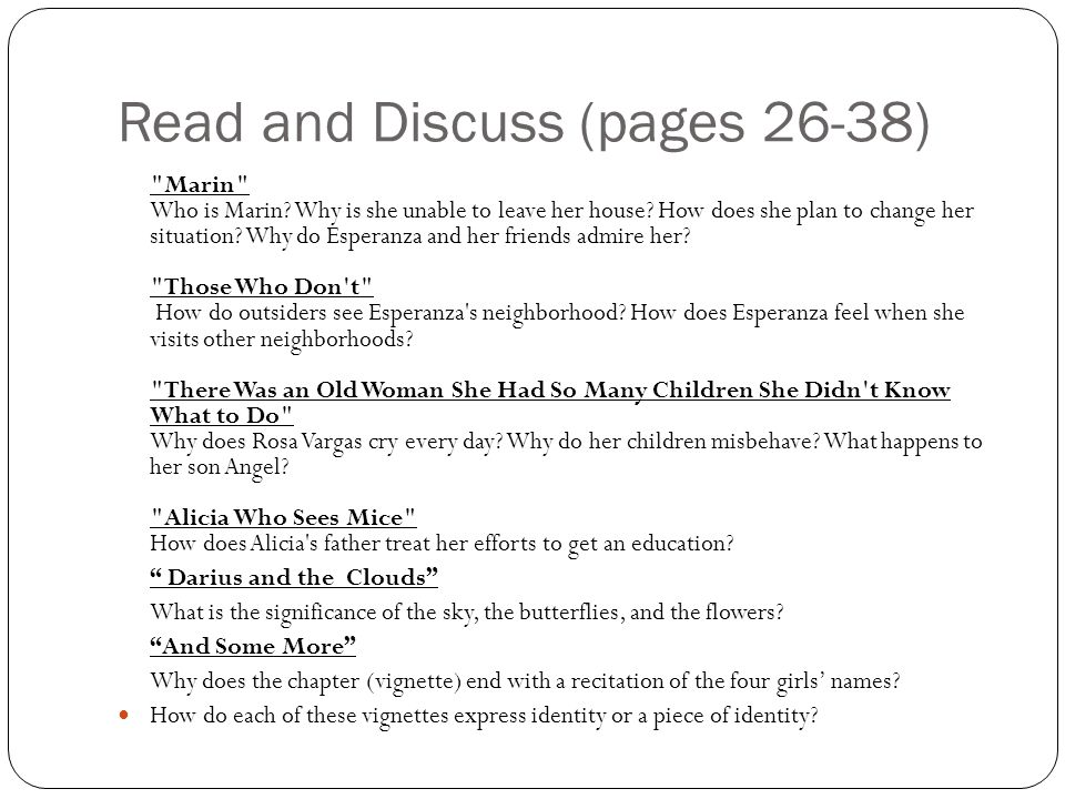Read and Discuss (pages 26-38)
