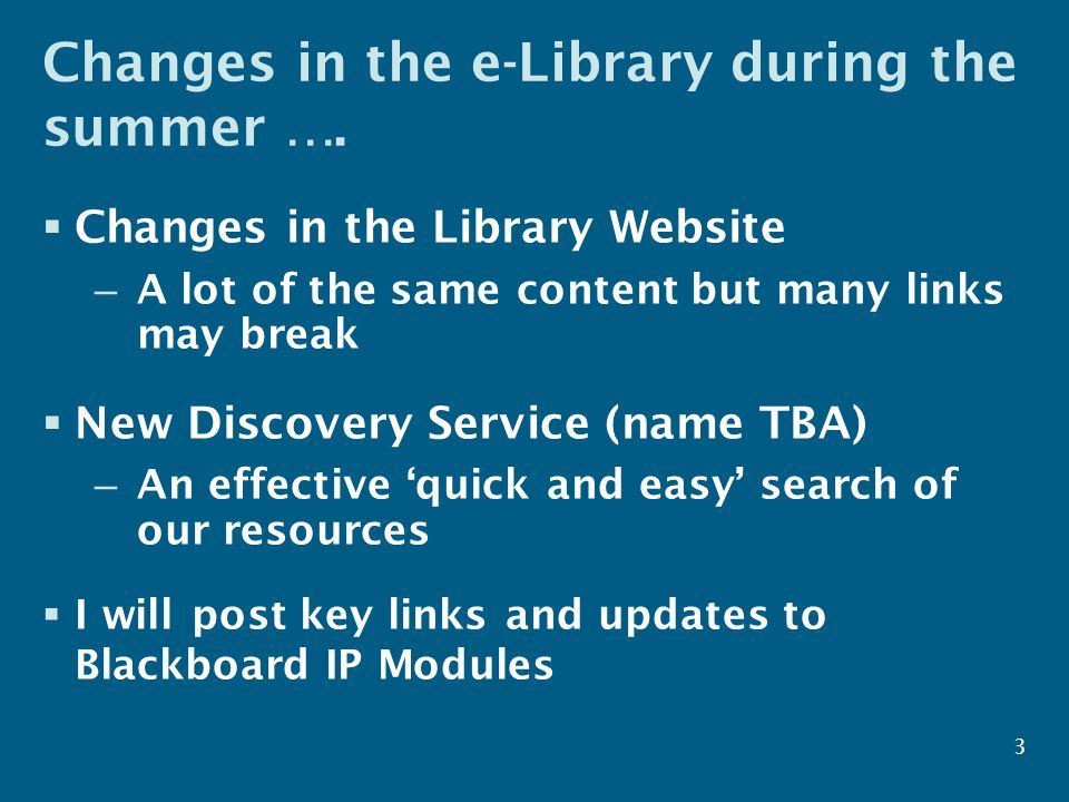 Searching – the basics  Start simple – with a few keywords  Look at the results – do you need: – More relevance (more specific search) – More results (broaden search) – More manageable numbers – restrict in some other way (e.g.