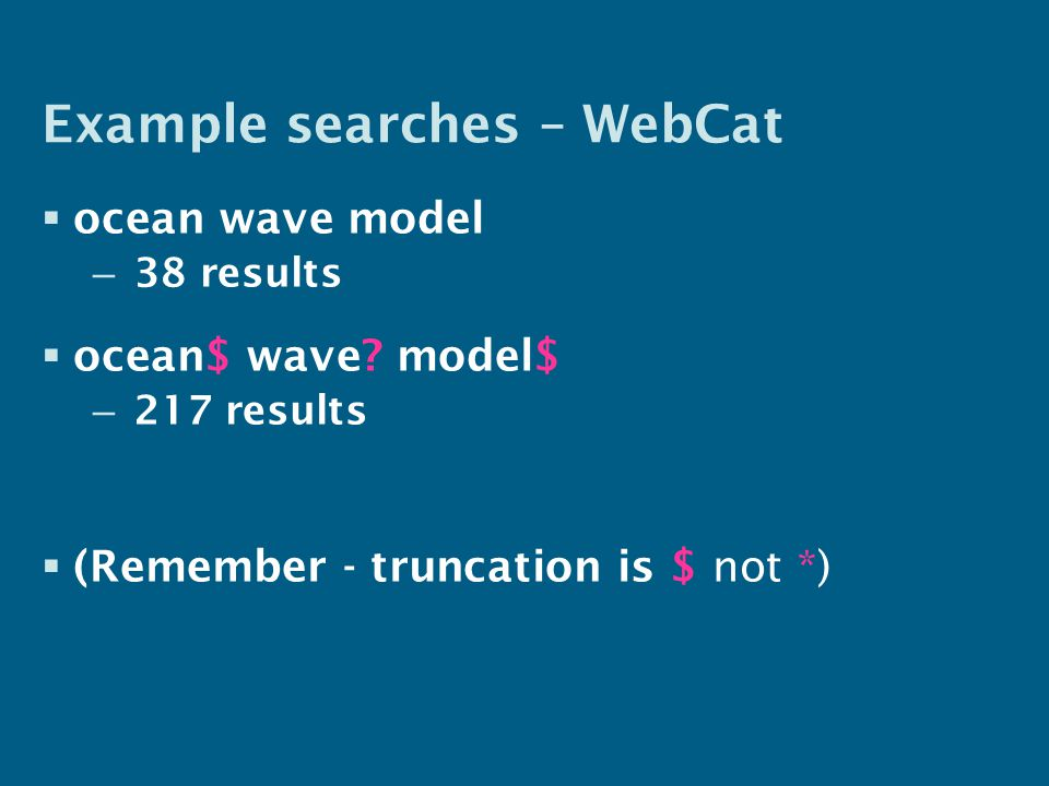 Example searches – WebCat  ocean wave model – 38 results  ocean$ wave.