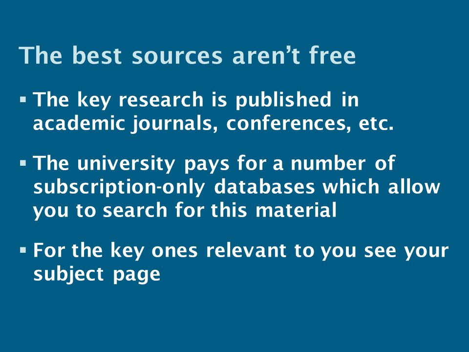 Access - on campus  Generally no passwords are needed – A few need your Institutional (email) username & password – A handful have special usernames/passwords  If you have problems – For journals check our access on TDNet – For other resources use links on the library website
