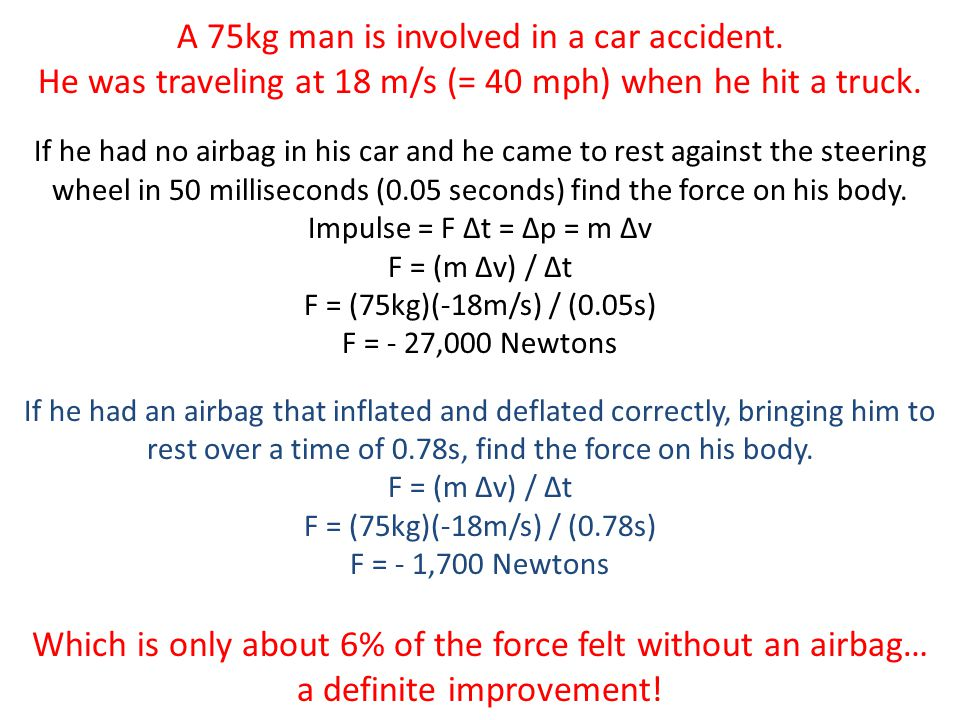 A 75kg man is involved in a car accident.