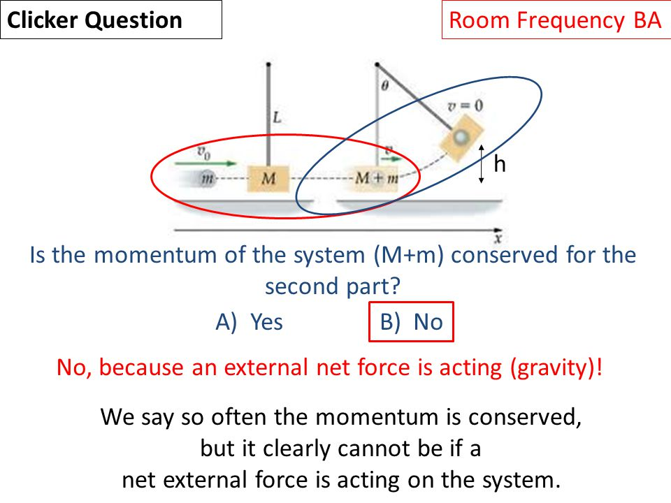 h Is the momentum of the system (M+m) conserved for the second part.