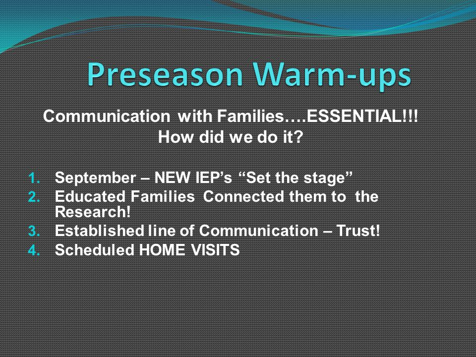 Communication with Families….ESSENTIAL!!. How did we do it.