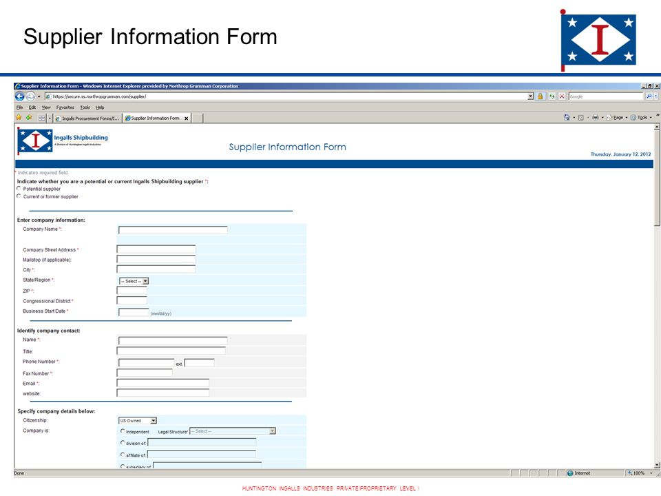 HUNTINGTON INGALLS INDUSTRIES PRIVATE/PROPRIETARY LEVEL I Supplier Information Form
