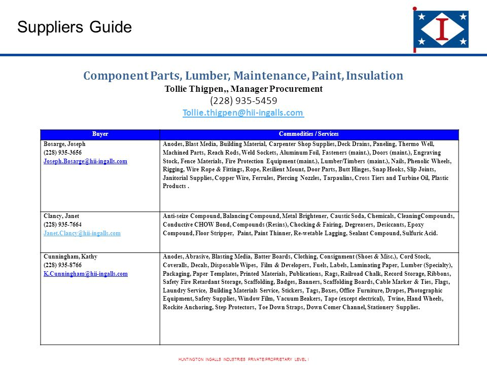 HUNTINGTON INGALLS INDUSTRIES PRIVATE/PROPRIETARY LEVEL I Suppliers Guide Component Parts, Lumber, Maintenance, Paint, Insulation Tollie Thigpen,, Manager Procurement (228) 935-5459 Tollie.thigpen@hii-ingalls.com BuyerCommodities / Services Bosarge, Joseph (228) 935-3656 Joseph.Bosarge@hii-ingalls.com Anodes, Blast Media, Building Material, Carpenter Shop Supplies, Deck Drains, Paneling, Thermo Well, Machined Parts, Reach Rods, Weld Sockets, Aluminum Foil, Fasteners (maint.), Doors (maint.), Engraving Stock, Fence Materials, Fire Protection Equipment (maint.), Lumber/Timbers (maint.), Nails, Phenolic Wheels, Rigging, Wire Rope & Fittings, Rope, Resilient Mount, Door Parts, Butt Hinges, Snap Hooks, Slip Joints, Janitorial Supplies, Copper Wire, Ferrules, Piercing Nozzles, Tarpaulins, Cross Tiers and Turbine Oil, Plastic Products.