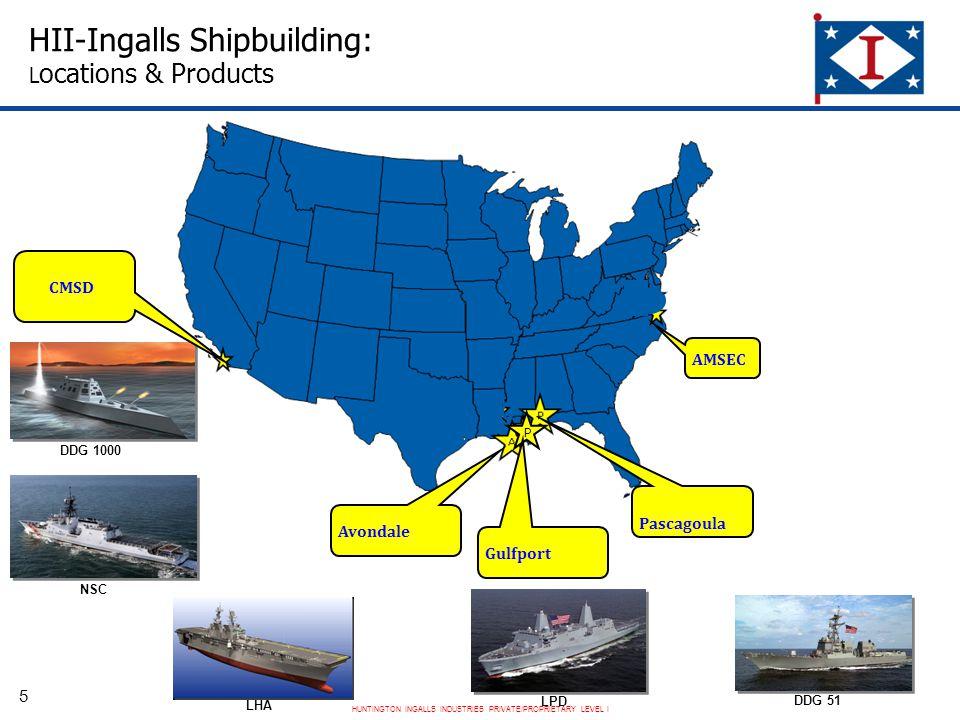HUNTINGTON INGALLS INDUSTRIES PRIVATE/PROPRIETARY LEVEL I P HII-Ingalls Shipbuilding: L ocations & Products DDG 1000 DDG 51 LPD NSC LHA Gulfport CMSD Pascagoula Avondale AMSEC 5
