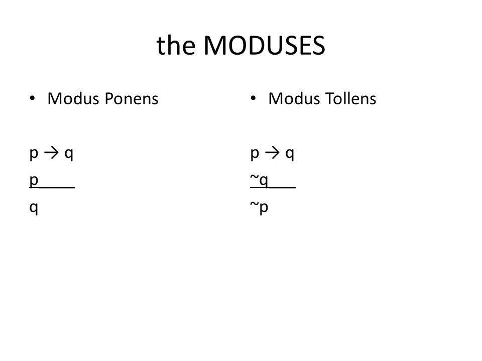 the MODUSES Modus Ponens p → q p____ q Modus Tollens p → q ~q___ ~p