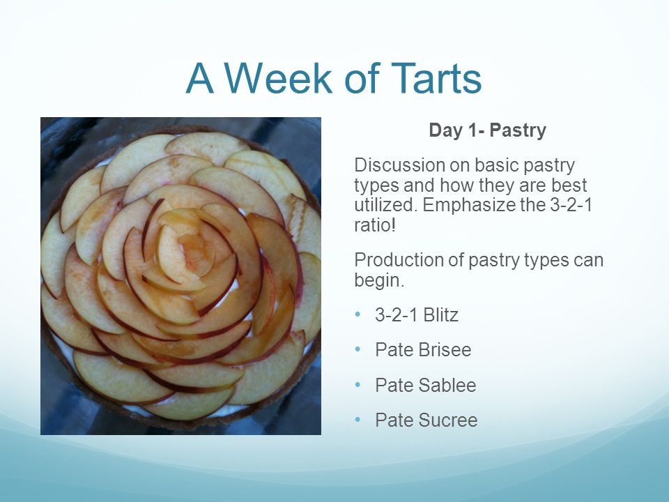 A Week of Tarts Day 1- Pastry Discussion on basic pastry types and how they are best utilized.