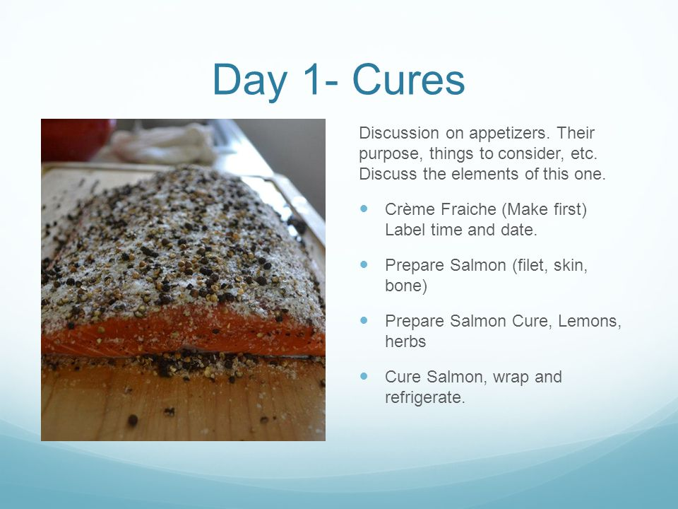 Day 1- Cures Discussion on appetizers. Their purpose, things to consider, etc.