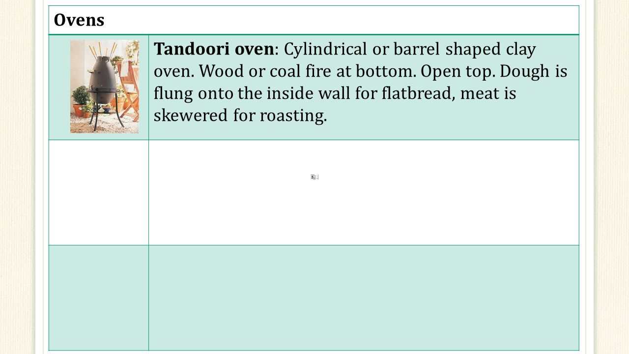 Ovens Tandoori oven: Cylindrical or barrel shaped clay oven.
