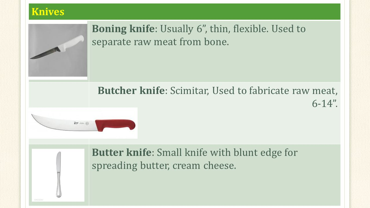 Knives Boning knife: Usually 6 , thin, flexible. Used to separate raw meat from bone.