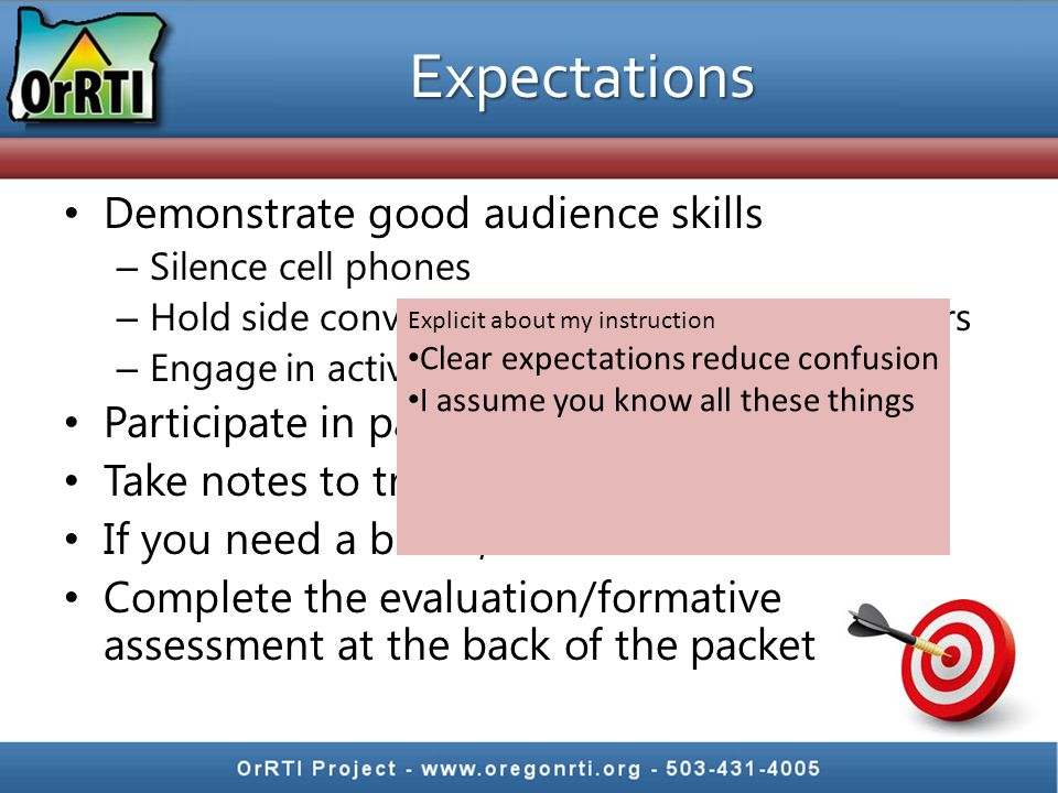 Expectations Demonstrate good audience skills – Silence cell phones – Hold side conversations out of ear shot of others – Engage in active listening P