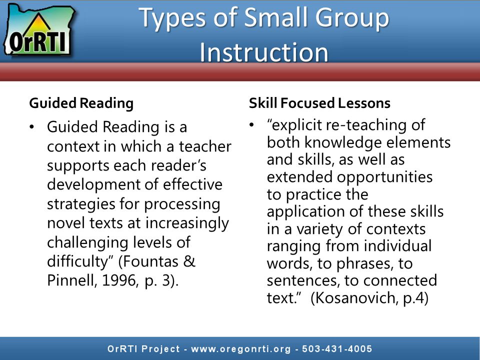 Guided Reading Guided Reading is a context in which a teacher supports each reader's development of effective strategies for processing novel texts at increasingly challenging levels of difficulty (Fountas & Pinnell, 1996, p.
