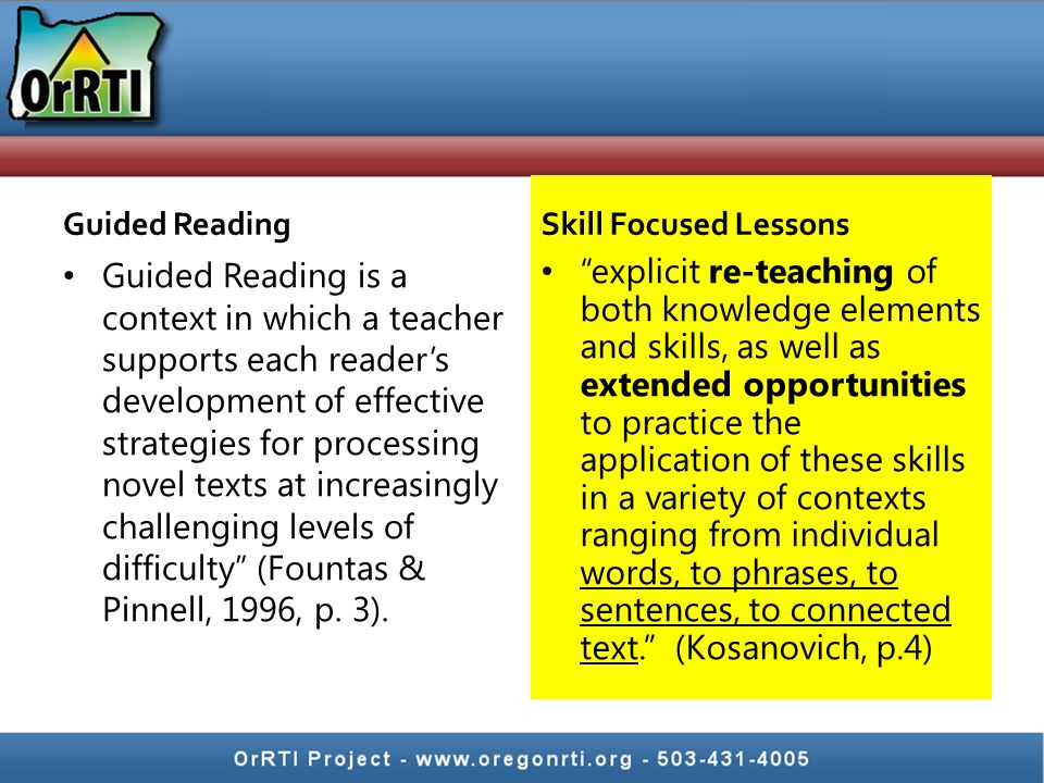 Guided Reading Guided Reading is a context in which a teacher supports each reader's development of effective strategies for processing novel texts at