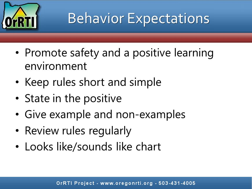 Behavior Expectations Promote safety and a positive learning environment Keep rules short and simple State in the positive Give example and non-exampl