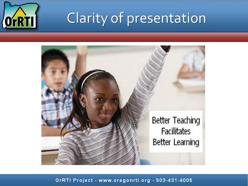Clarity of presentation
