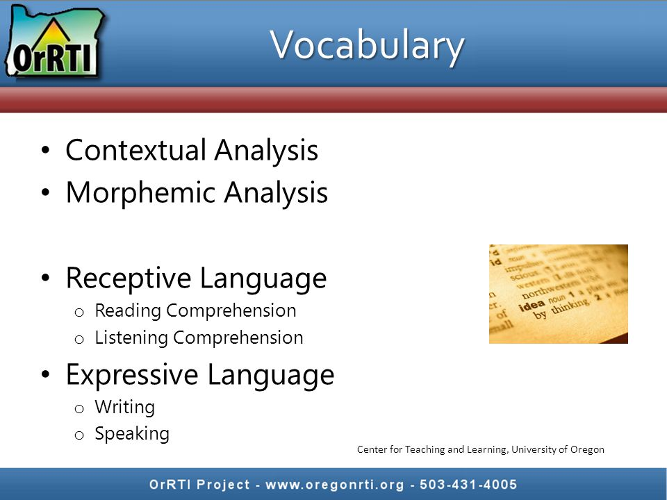 Contextual Analysis Morphemic Analysis Receptive Language o Reading Comprehension o Listening Comprehension Expressive Language o Writing o Speaking V