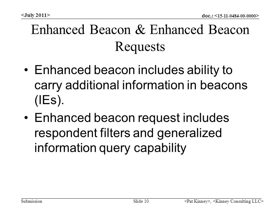 doc.: Submission Enhanced Beacon & Enhanced Beacon Requests Enhanced beacon includes ability to carry additional information in beacons (IEs).