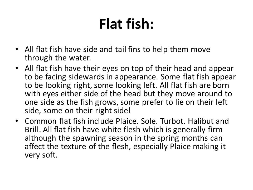 Flat fish: All flat fish have side and tail fins to help them move through the water.