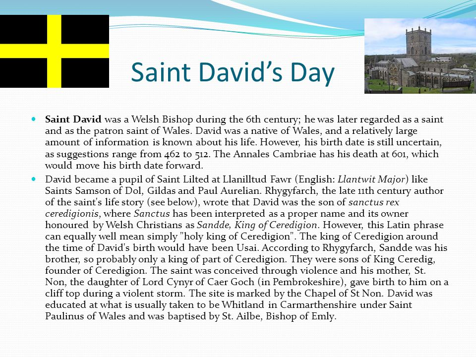Saint David's Day Saint David was a Welsh Bishop during the 6th century; he was later regarded as a saint and as the patron saint of Wales. David was