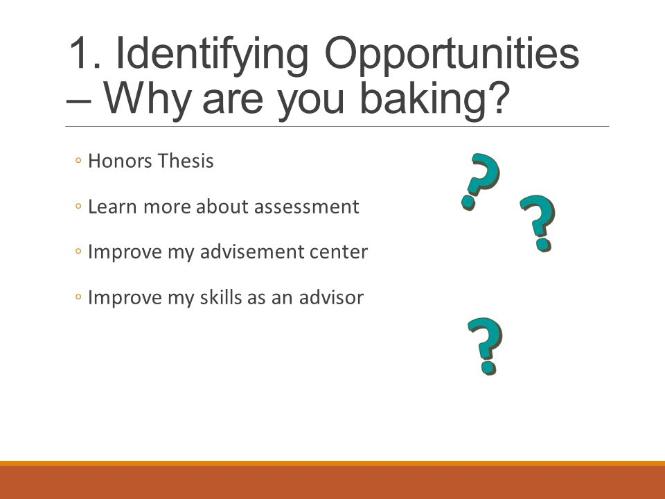 1. Identifying Opportunities – Why are you baking.