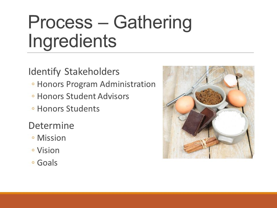 Process – Gathering Ingredients Identify Stakeholders ◦Honors Program Administration ◦Honors Student Advisors ◦Honors Students Determine ◦Mission ◦Vision ◦Goals