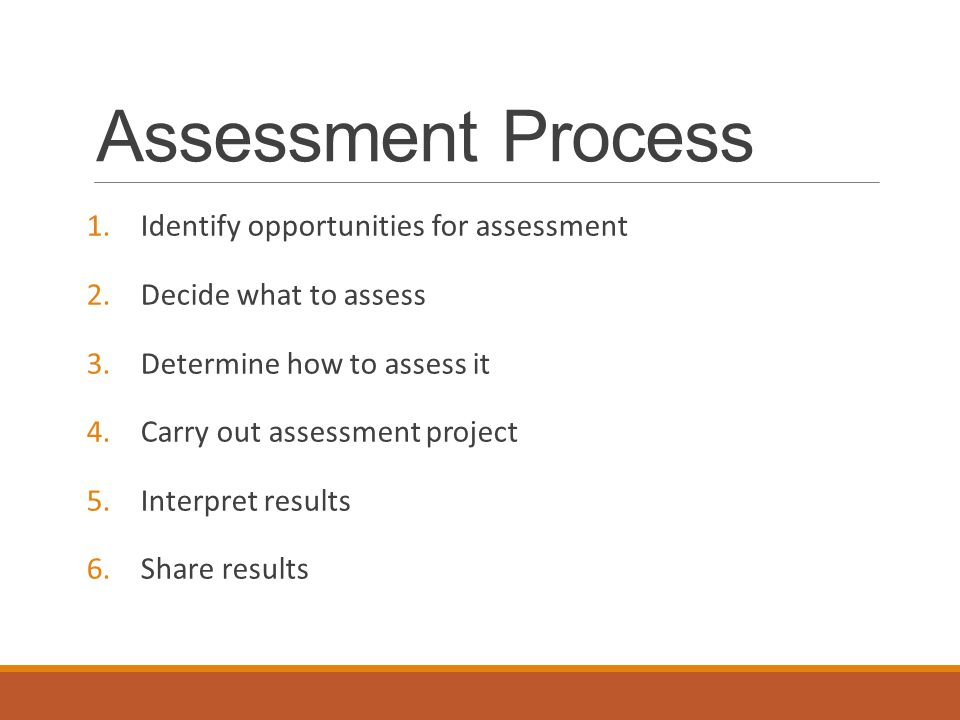 Assessment Process – Baking a Cake 1.Identify opportunities for assessment – what are you hoping to get out of the experience.