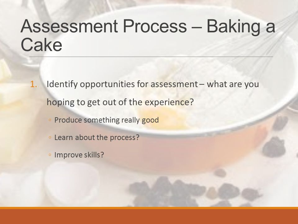 Assessment/Baking Process 2.Decide what to assess: ◦What do you want it to look like.