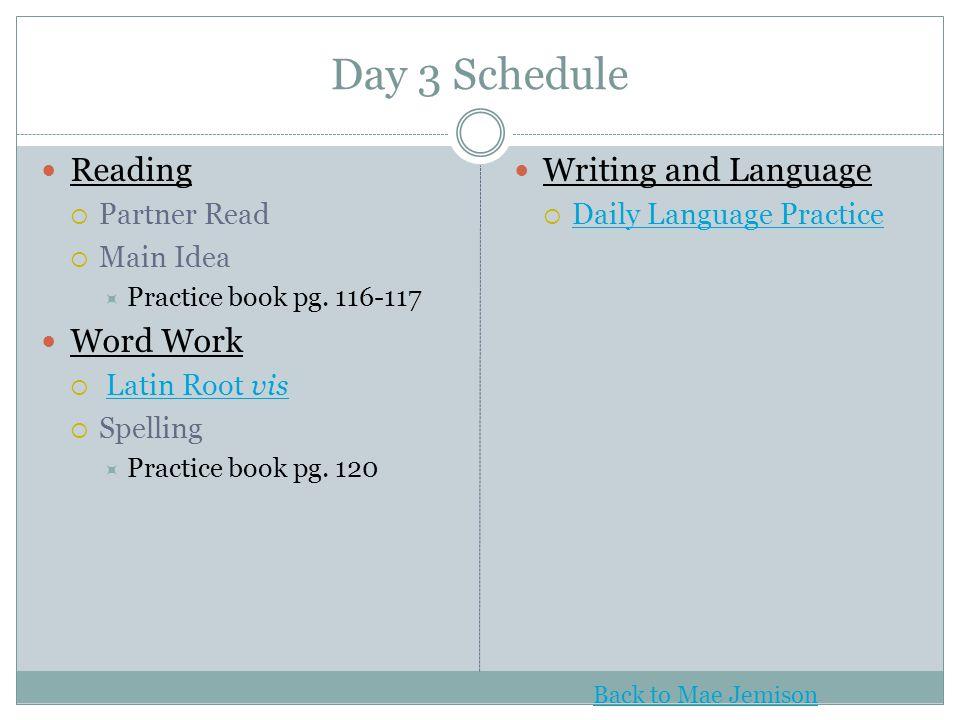 Day 3 Schedule Reading  Partner Read  Main Idea  Practice book pg. 116-117 Word Work  Latin Root visLatin Root vis  Spelling  Practice book pg.