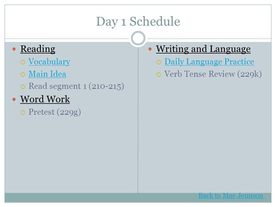 Day 1 Schedule Reading  Vocabulary Vocabulary  Main Idea Main Idea  Read segment 1 (210-215) Word Work  Pretest (229g) Writing and Language  Dail
