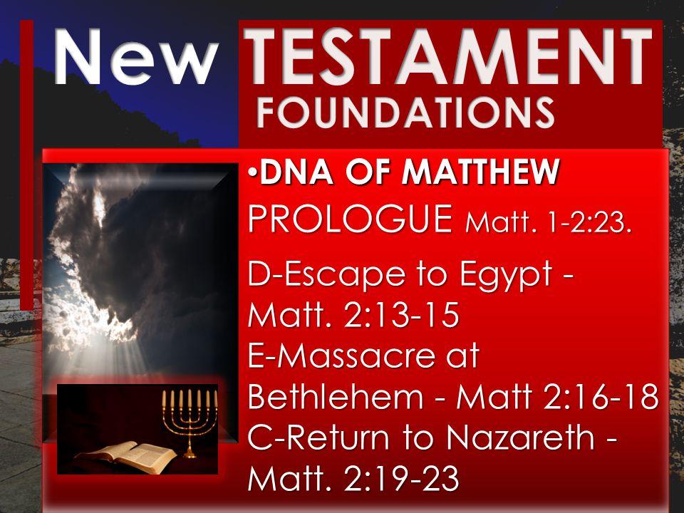 DNA OF MATTHEW DNA OF MATTHEW PROLOGUE Matt. 1-2:23.