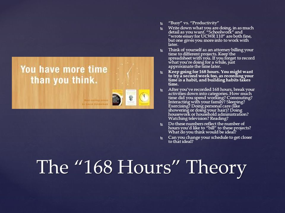 The 168 Hours Theory  Busy vs.