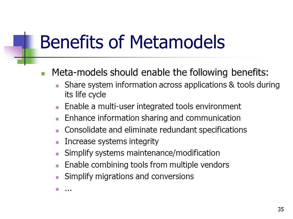 Benefits of Metamodels Meta-models should enable the following benefits: Share system information across applications & tools during its life cycle Enable a multi-user integrated tools environment Enhance information sharing and communication Consolidate and eliminate redundant specifications Increase systems integrity Simplify systems maintenance/modification Enable combining tools from multiple vendors Simplify migrations and conversions...